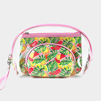 3PCS - Tropical Fruits Leaf Clear Pouches Bag