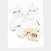 Two Tone Metal Elephant Pendant Set
