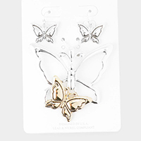 Two Tone Metal Butterfly Pendant Set
