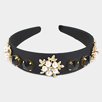 Pearl Flower Leaf Accented Headband
