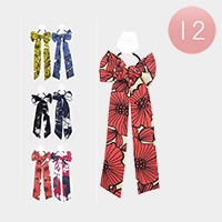 12PCS - Floral Pattern Bow Hair Bands
