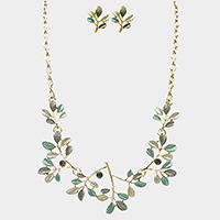 Stone Colored Metal Leaf Statement Necklace