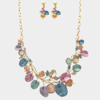 Stone Colored Metal Petal Statement Necklace
