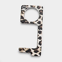Leopard Print Touchless Door Opener Button Push Tool
