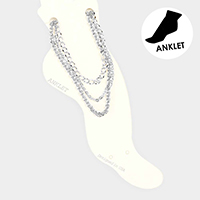 3PCS - Metal Chain Layered Anklets