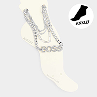 4PCS - Boss Rhinestone Chain Layered Anklets