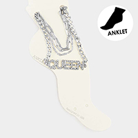 4PCS - Queen Rhinestone Chain Layered Anklets