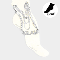 4PCS - Glam Rhinestone Chain Layered Anklets