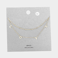 Brass Metal Double Layered LOVE Pendant Necklace