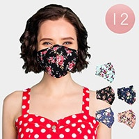 12PCS - Assorted Flower Pattern Print Fashion Masks