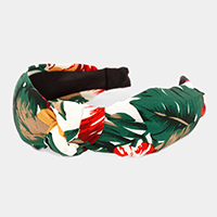 Floral Tropical Leaf Print Knot Headband