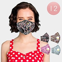 12PCS - Assorted Paisley Print Breathable Fashion Masks