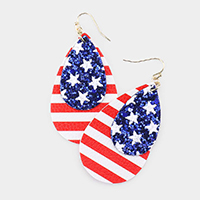 Glitter USA Flag Faux Leather Earrings