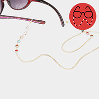 Colorful Round Stone Link Glasses Chain