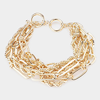 Multi Layered Metal Chain Link Toggle Bracelet