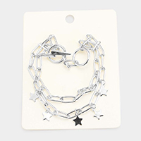 Double Layered Metal Star Charm Toggle Bracelet