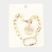 Cut Out Oval Metal Disc Charm Chain Link Bracelet