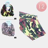 12PCS - Camoflage Print Neck Gaiter Masks / Head Wears / Tube Scarves
