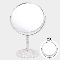 Rhinestone Pave Double Sided Makeup Tabletop Swivel Mirror