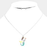 Colored Metal Mermaid Pendant Necklace