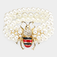 3Rows Pearl Honey Bee Accented Stretch Bracelet