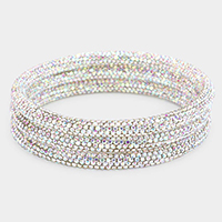 3PCS - Rhinestone Pave Bangle Layered Bracelets