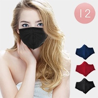 12PCS - Assorted Solid Fashion Masks