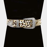 Leopard Faux Leather Stone Accented Buckle Belt