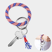 Seed Beaded Patriotic Pattern Tassel Key Chain / Bracelet