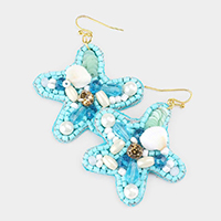 Pearl Shell Embellished Starfish Earrings