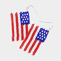 USA Flag Seed Beaded Earrings