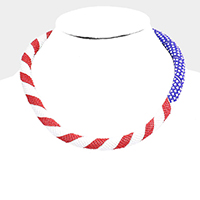 Seed Beaded Patriotic Pattern Necklace