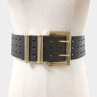 Faux Leather Antique Bold Metal Buckle Belt