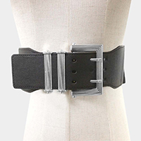 Faux Leather Antique Bold Metal Buckle Elastic Belt