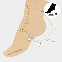 Double Layered Metal Moon Star Station Anklet