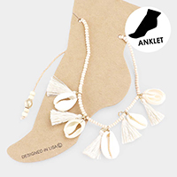 Wood Beaded Shell Tassel Station Adjustable Anklet