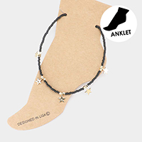 Seed Beaded Metal Star Station Anklet