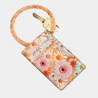 Floral Faux Leather Key Chain / Bracelet / Card Holder Wallet