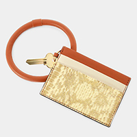 Snake Skin Faux Leather Key Chain / Bracelet / Card Holder Wallet