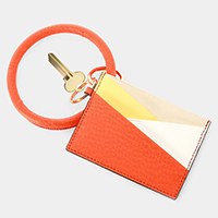 Colorful Faux Leather Key Chain / Bracelet / Card Holder Wallet