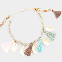Wood Beaded Shell Tassel Station Adjustable Bracelet