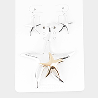 Two Tone Metal Starfish Pendant Set