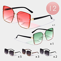 12PCS - Chic Angular Frame Sunglasses