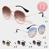 12PCS - Metal Frame Wayfarer Sunglasses