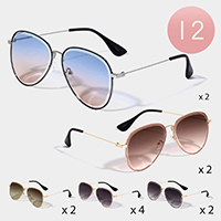 12PCS - Metal Frame Classic Aviator Sunglasses