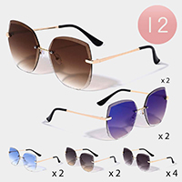 12PCS - Chic Frameless Rimless Sunglasses