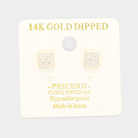 14K Gold Dipped CZ Square Stud Earrings
