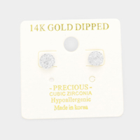 14K Gold Dipped CZ Round Stud Earrings