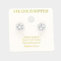 14K Gold Dipped CZ Embellished Ball Stud Earrings