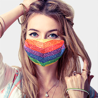 Rainbow Print Cotton Fashion Mask
